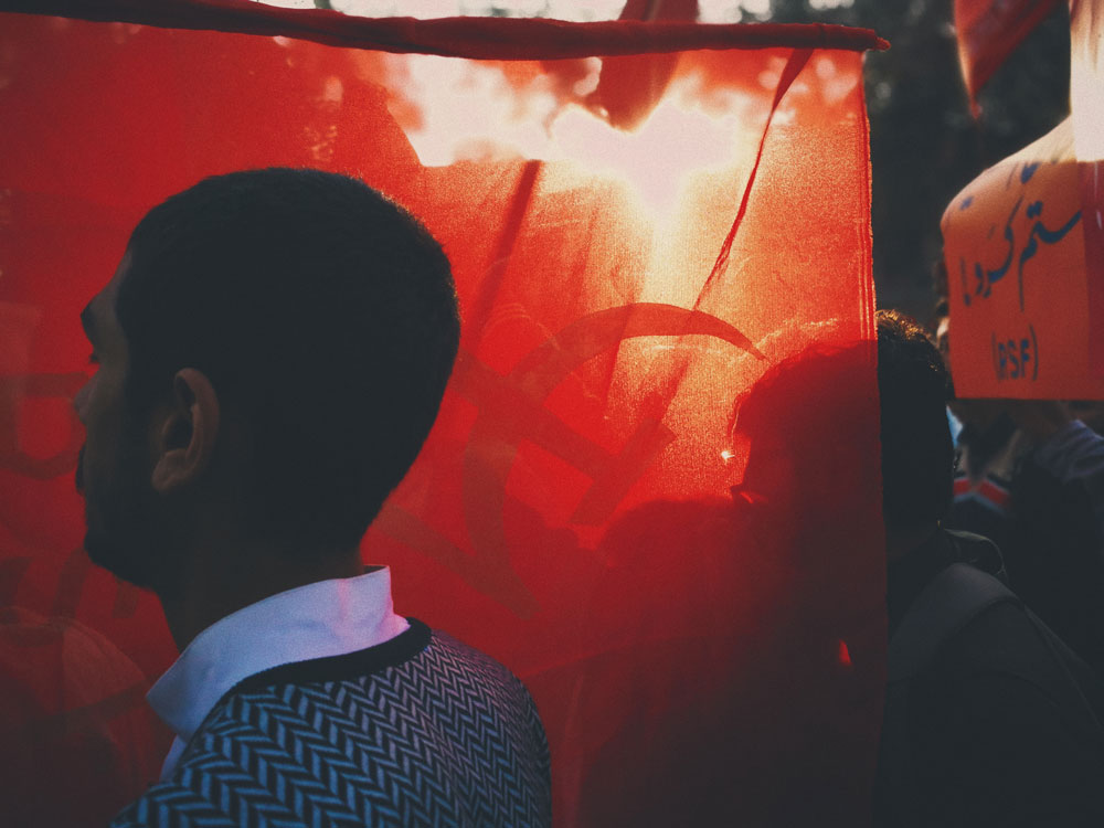 red flag at protest in paksitan